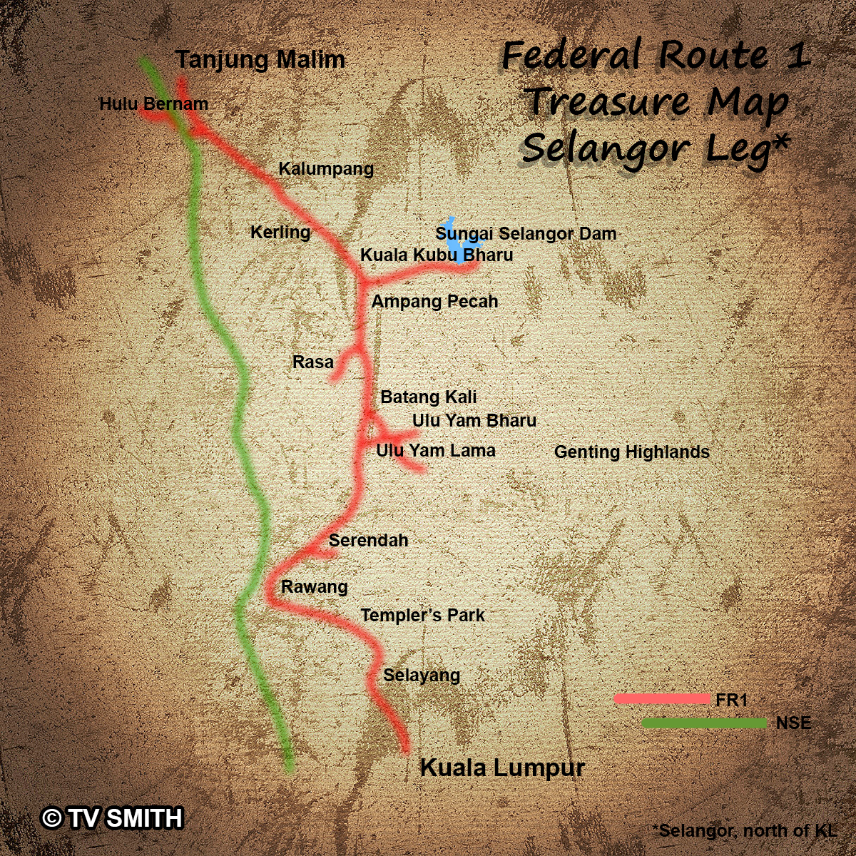 Map – Federal Route 1, North of KL