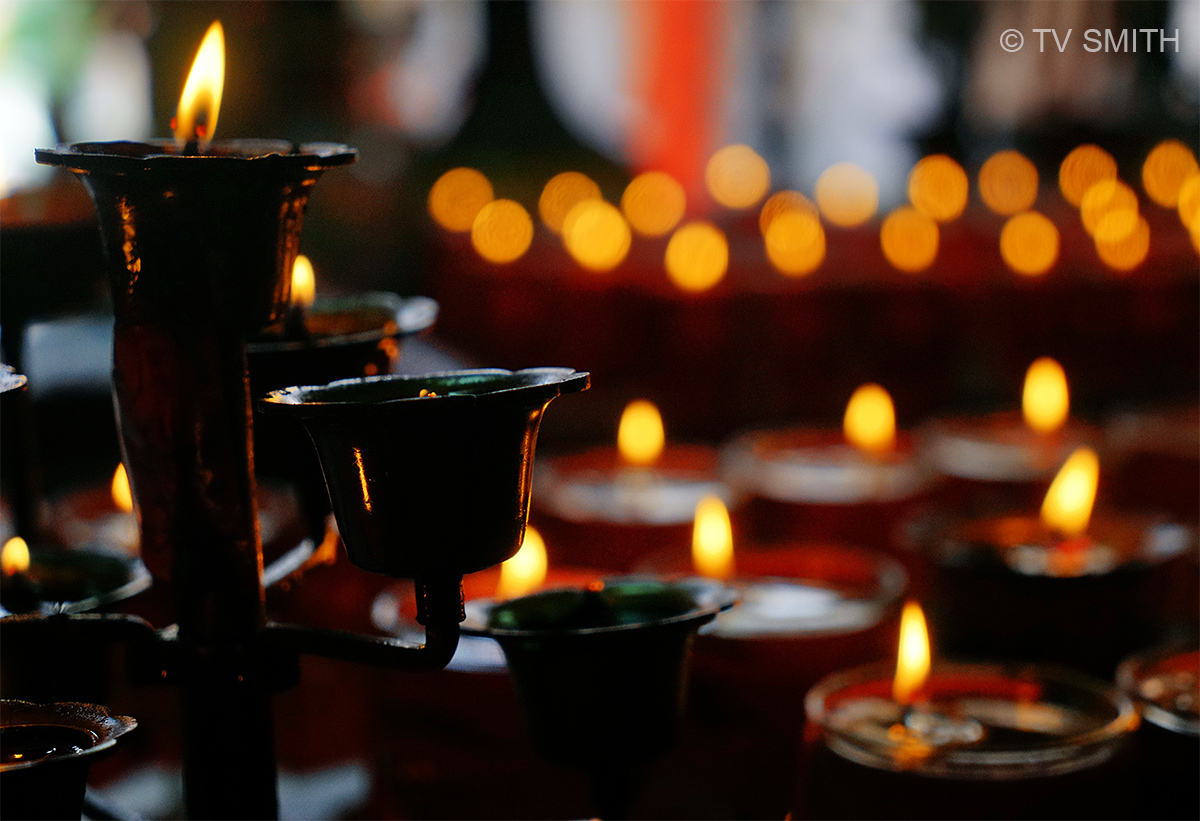 Bokeh Of Oil Lamps In Temple